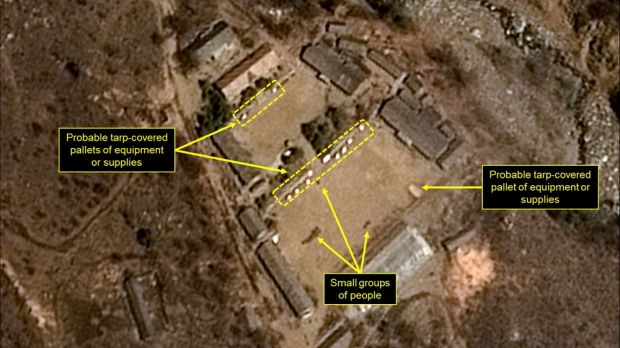 In an undated handout satellite image, the Punggye-ri nuclear test site in North Korea in April of 2017.