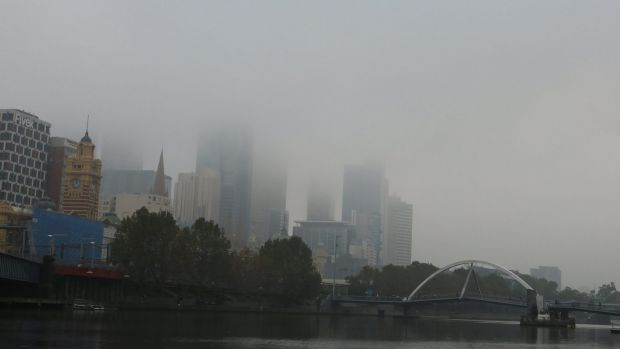 Foggy conditions in Melbourne on Thursday, April 20.