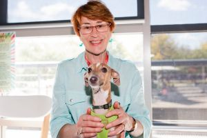 Eileen Dunstone, of Bruce with Echo the Italian greyhound.
