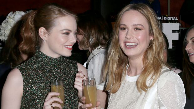 Emma Stone (L) and Brie Larson, Larson was full of praise for Stone in her profile of the actress.
