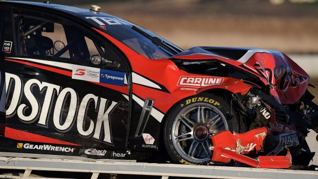 Will Davison's Commodore was badly damaged after the multi-car pile up at Symmons Plains.