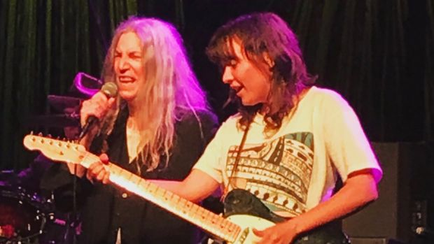 Courtney Barnett and Patti Smith on stage at Festival Hall on Thursday night.