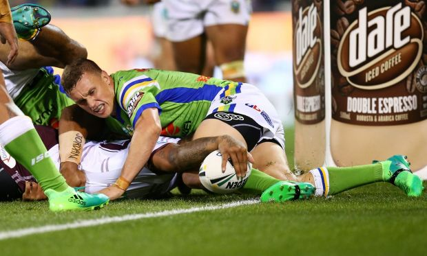 Addin Fonua-Blake of the Eagles is tackled just short of the try line.