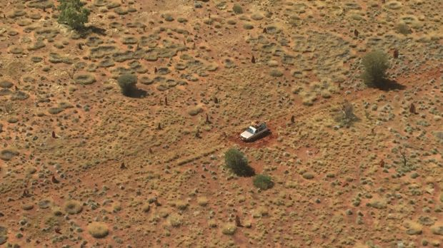 The pair's vehicle was spotted by a search plane.
