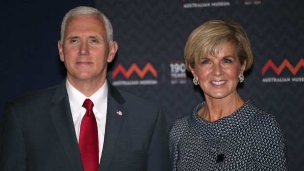 US Vice-President Mike Pence poses for a photograph next to Foreign Minister Julie Bishop during a visit to the ...