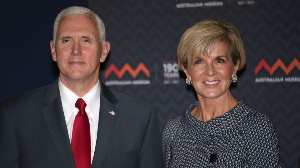 Foreign Minister Julie Bishop with US Vice President Mike Pence during his recent visit to Australia.