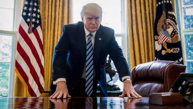 US President Donald Trump in the Oval Office in April.