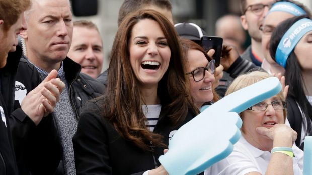 Kate, the Duchess of Cambridge, encourages competitors in the London Marathon.