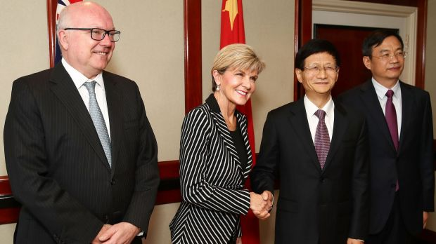 Attorney-General George Brandis, Foreign Minister Julie Bishop and Chinese Central Commission on Political and Legal ...