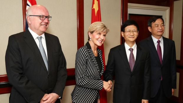 Attorney-General George Brandis and Foreign Minister Julie Bishop with  Meng Jianzhu, Secretary of China's Central ...