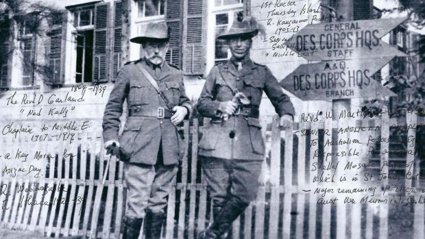 Canon David Garland (left) in Cairo as senior chaplain for Queensland troops.