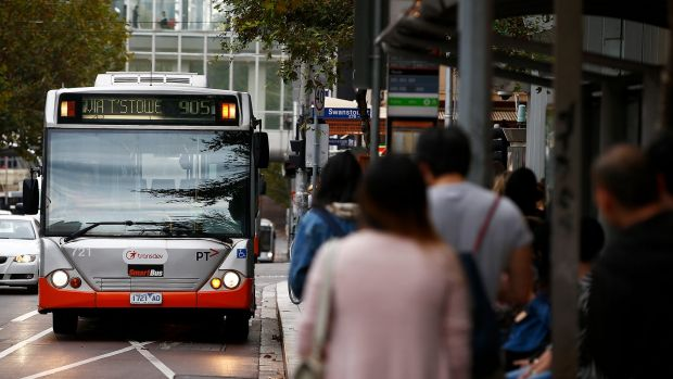 A Transdev bus in Lonsdale Street, which could form part of Melbourne's first rapid transit busway.