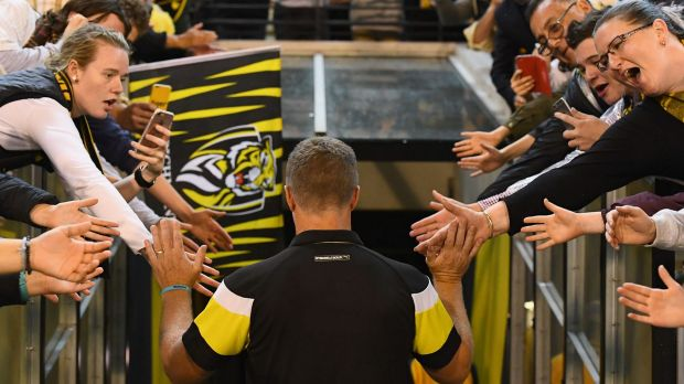 Hardwick high fives fans after a win over the Demons in round five.