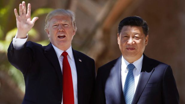 Happier times. US President Donald Trump and Chinese President Xi Jinping in Florida in April.