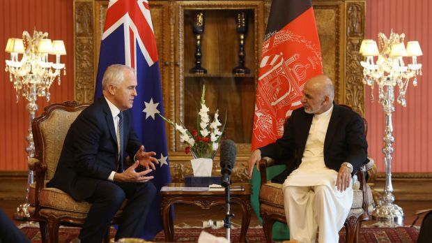 Prime Minister Malcolm Turnbull met with Afghan President Dr Mohammed Ashraf Ghani at Dilkusha in the grounds of the ...