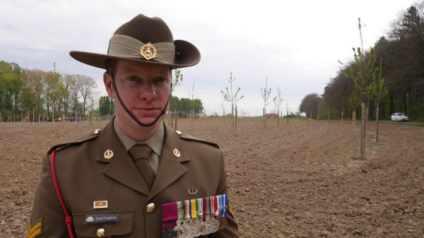 Corporal Dan Keighran at Polygon Peace Wood.