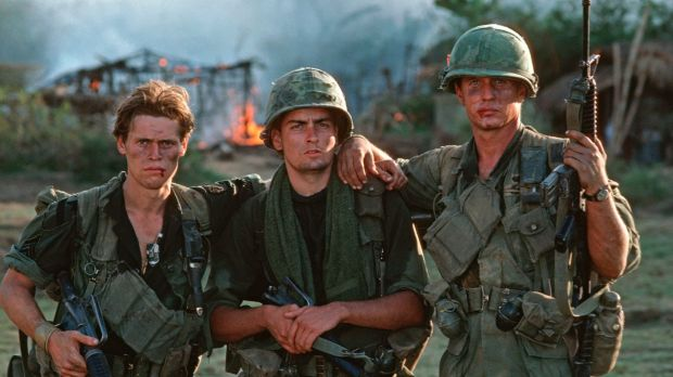 Oliver Stone's <i>Platoon</i>, starring Willem Dafoe (left), Charlie Sheen and Tom Berenger, won best picture and ...