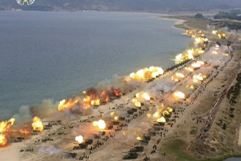 This image made from video of still images broadcast in a news bulletin by North Korea's KRT on Wednesday, April 26, ...
