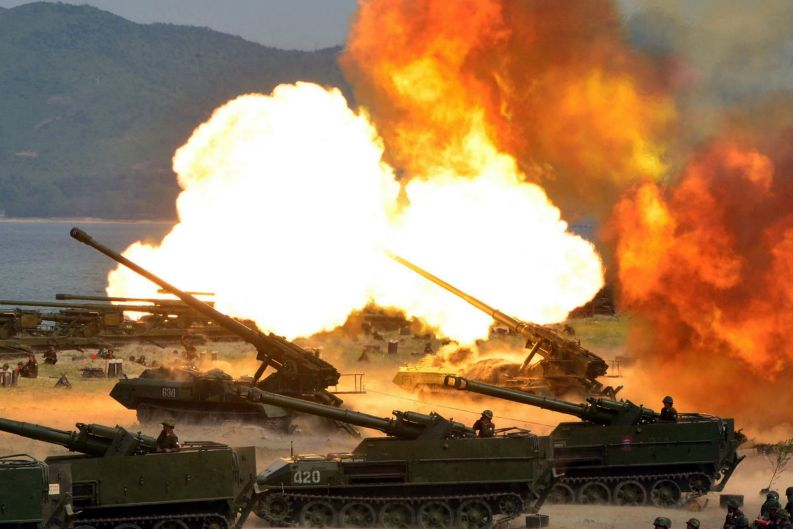 North Korean tanks take part in a live-fire drill.