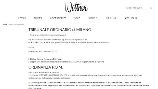 The Italian court statement on Wittner's website.