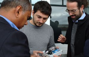 Dr Kumudu Munasinghe, Lorenzo Bertolelli and Adrian Garrido Sanchis with the listening node designed and built at the ...
