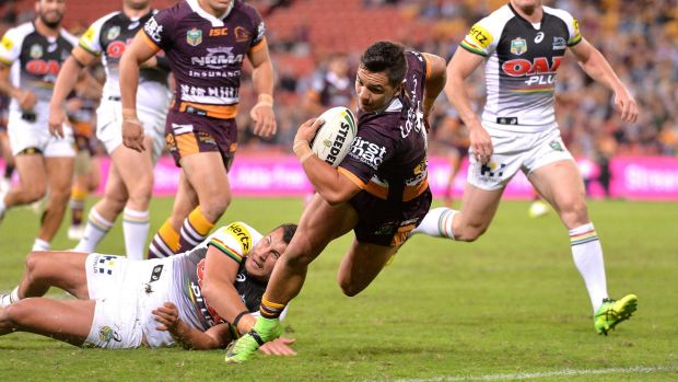 All-rounder: Kodi Nikorima of the Broncos scores a try in just one example of the halfback's many contributions during ...