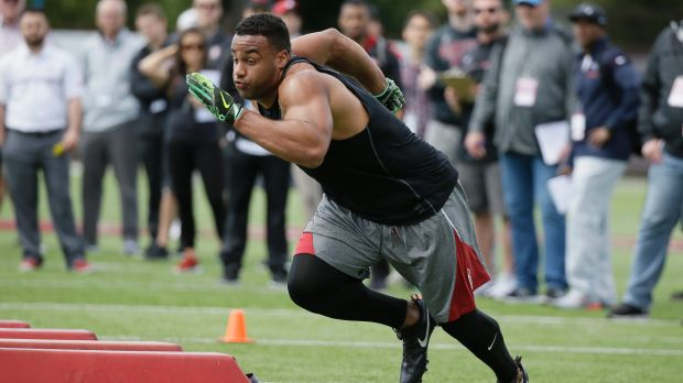 Power: Stanford defensive end Solomon Thomas during his NFL pro day.