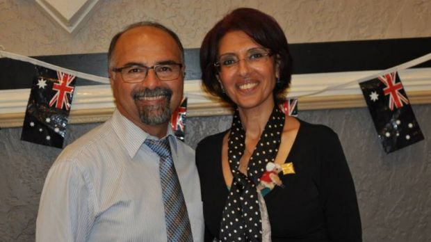 Eman Sharobeem, pictured with her husband Haiman Hammo, at an Australian of the Year dinner in Gunnedah in 2016.