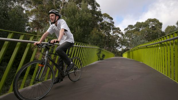 Ted Thyer rides on the Darebin-Yarra Trail, an $18m bike trail that will now have an entrance in Alphington.