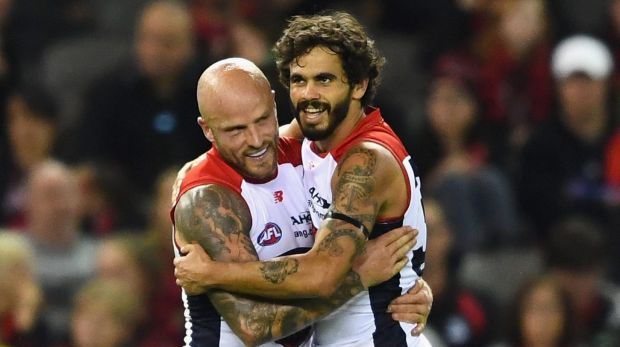 Jeff Garlett and Nathan Jones celebrate a goal.