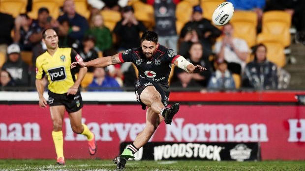 Match-winner: Shaun Johnson kicks the late penalty goal.