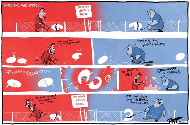 The Canberra Times editorial cartoon for Monday, May 1, 2017. Free speech. Dog park. Off-leash speech park