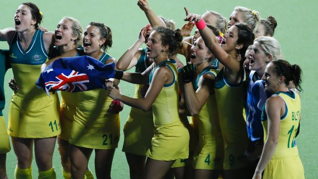 The moment: Australia celebrate after beating England to win gold at the 2014 Commonwealth Games in Glasgow.
