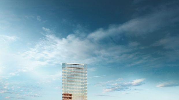 An artist's impression of Wanda's proposed Circular Quay tower, incorporating a 5-star Wanda Vista Hotel, 190 exclusive ...