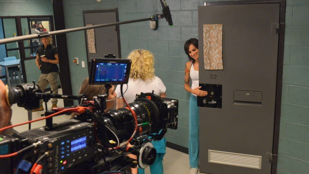 Nicole da Silva (right), who has found fame as Franky Doyle in the prison drama <i>Wentworth</I>, on set with fellow ...