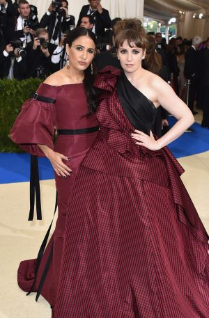Jenni Konner and Lena Dunham in Elizabeth Kennedy at this year's Met Gala.
