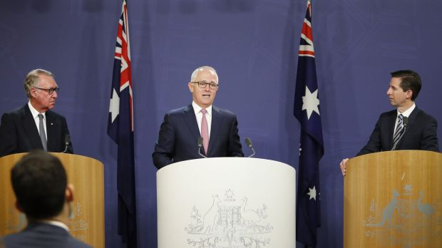 David Gonski, Prime Minister Malcolm Turnbull and Education Minister Simon Birmingham on Tuesday.