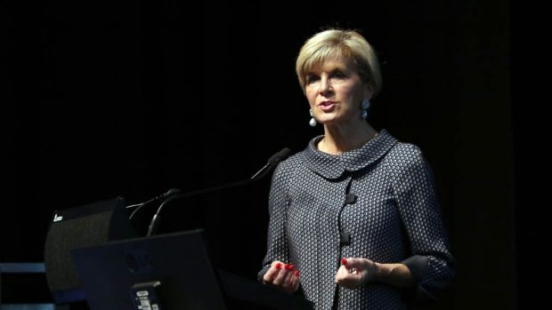 Foreign Minister Julie Bishop speaks at the opening of the Kimberley Process in Perth on May 1, where Chinese delegates ...