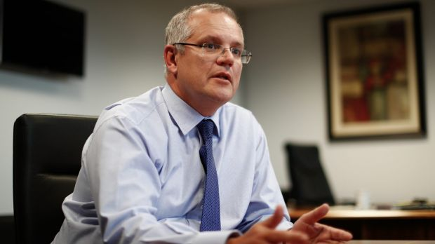 Scott Morrison in his Treasury office building ahead of the 2017 budget.