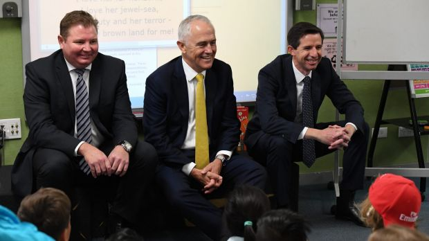 Assistant Minister for Industry Craig Laundy, Prime Minister Malcolm Turnbull and Education Minister Simon Birmingham ...