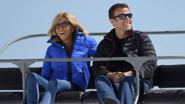 Brigitte Macron and her husband, the French President Emmanuel Macron. She is 24 years older than him.