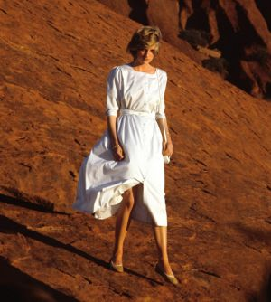 Diana descends Uluru, 1983.