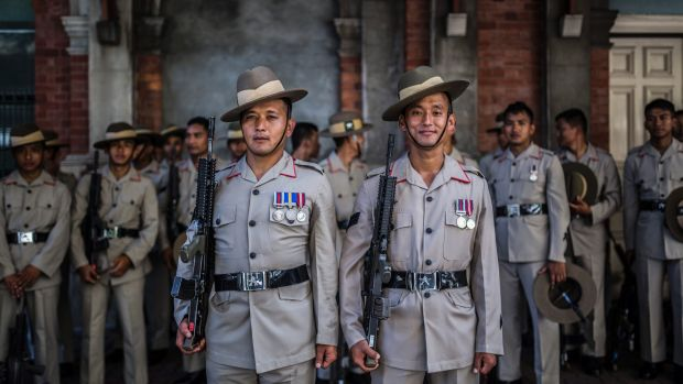 Gurkhas Corporal Santosh Shrestha and Corporal Robin Gurung at Brisbane's Anzac parade. Members of the Nepalese unit ...