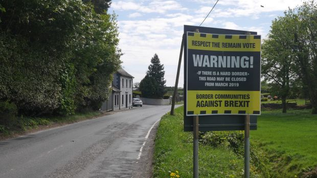 Damian McGenity's group, Border Communities Against Brexit, has posted notices on border roads to try to generate ...