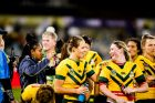 Australian Jillaroos vs Kiwi Ferns at Canberra Stadium on Friday night. Australia Jilaroos celebrate a win. Photo: ...