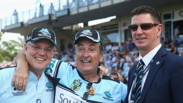 Sharks chairman Damian Keogh (right), pictured with Federal Treasurer Scott Morrison and former Sharks ground announcer ...
