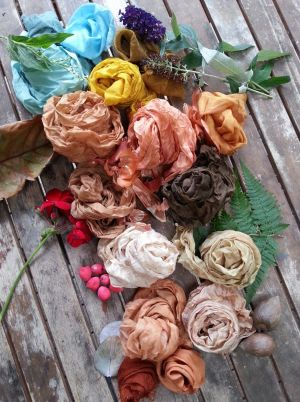Fabric is dyed with plants and flowers from the Frenchs Forest Garden.
