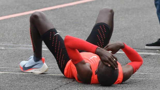 Eliud Kipchoge after crossing the finish line at Monza