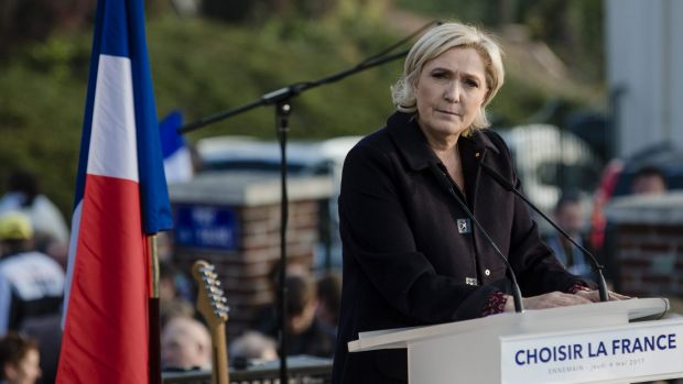 Marine Le Pen, French presidential candidate, during an election campaign event in Ennemain, France.