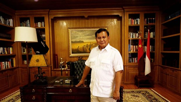 Prabowo Subianto in front of his desk at his mountain retreat in Hambalang, West Java.